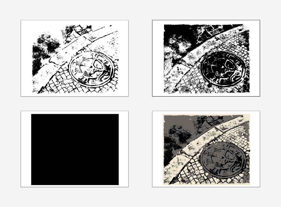 Obra vectoritzada y separación de los tres colores